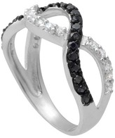 Journee Collection Tressa Collection Cubic Zirconia Twist Ring in Sterling Silver - Black + White