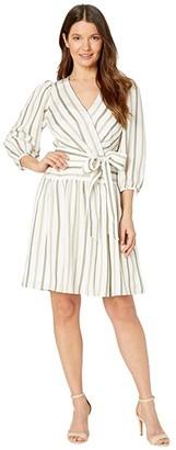 Calvin Klein 3/4 Sleeve Belted Striped Dress (Wheat/Caper Multi) Women's Dress