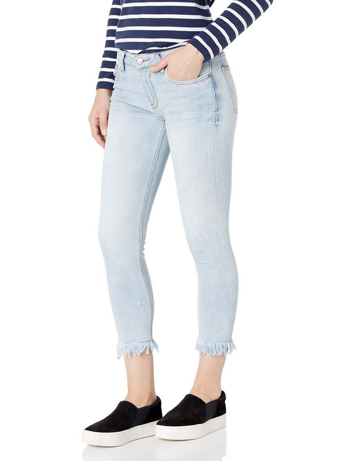 EVIDNT Women's Palermo MID Rise Skinny Crop Distressed Jeans