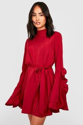 boohoo Boho High Neck Wide Sleeve Shift Dress