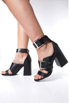 Quiz Black Strap Buckle Heel Sandals