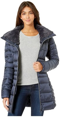 Save The Duck Iris 9 Puffer Coat with Faux Fur Lined Collar (Blue/Black) Women's Clothing