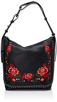 Calvin Klein womens Liana Pebble Leather Floral Embroidery Belted Top Zip Slouchy Hobo