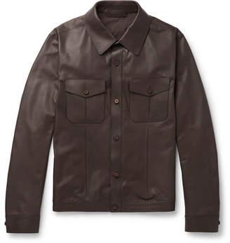 Ermenegildo Zegna Slim-Fit Leather Overshirt