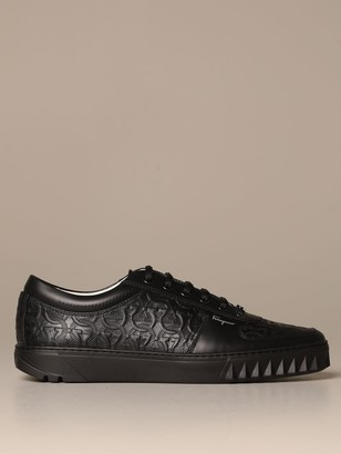 Salvatore Ferragamo Sneakers Scuby Leather Sneakers With Gancini Logo