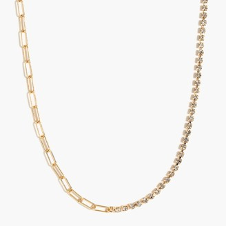 J.Crew Crystal and paper clip chain choker necklace