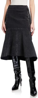 Balenciaga Japanese Denim Godet Midi Skirt