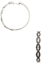 Artisan 18K White Gold & 1.71 Total Ct. Black & White Diamond Crossover Hoop Earrings