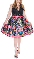 Mac Duggal Plus Size Lace-Bodice V-Neck Floral Fit & Flare Dress