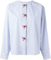 J.W.Anderson collarless striped bow shirt