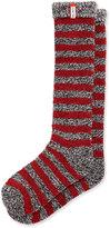Hunter Striped Loop-Knit Knee Socks, Black/White/Lava Red/Mineral Blue