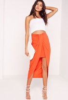 Missguided Pleat Front Jersey Midi Skirt Orange