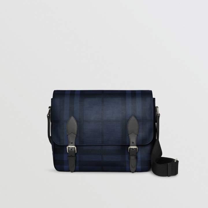 Burberry Medium Leather Trim London Check Messenger Bag, Blue