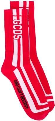 GCDS striped logo ankle socks
