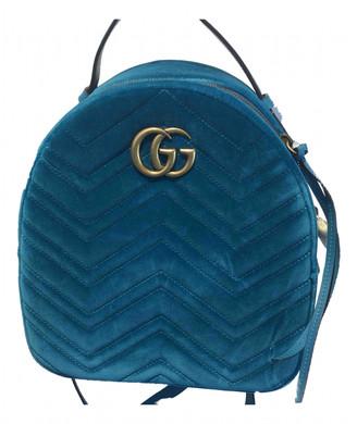 Gucci Marmont Blue Velvet Backpacks