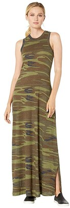 Alternative Eco-Jersey Printed Side Slit Maxi Dress Tank Dress (Camo) Women's Dress