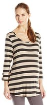 Three Seasons Maternity Women's Maternity 3/4 Tab Sleeve Stripe Top