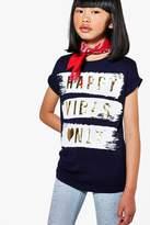 boohoo Girls Happy Vibes Only Tee navy