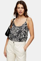 Topshop Womens Black And White Animal Scoop Cami - Monochrome
