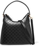 Gucci Linea A Hobo Embossed Leather Shoulder Bag - Black