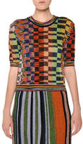 Missoni Crewneck Short-Sleeve Multicolor Knit Top