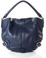 Salvatore Ferragamo Navy Blue Pebbled Leather Hobo Handbag