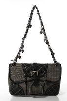 Luella Brown Wool Plaid Silver Tone Chain Strap Shoulder Handbag