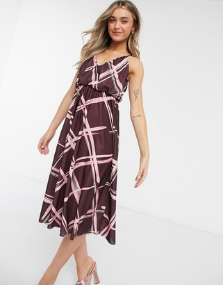 ASOS DESIGN cami plunge midi dress with blouson top in grid print
