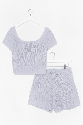 Nasty Gal Womens Knit's Up to You Top and Shorts Lounge Set - Powder Blue