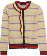Sibling Striped Metallic Knitted Cardigan - Yellow