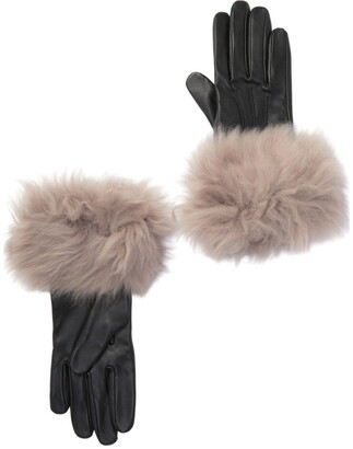 UGG Genuine Shearling Trim Leather Gloves