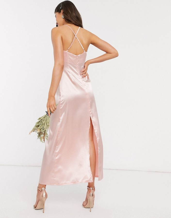 Thumbnail for your product : TFNC Bridesmaid satin maxi dress with cowl front in blush pink