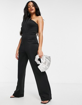 Chi Chi London strapless jumpsuit with pleated neckline in black