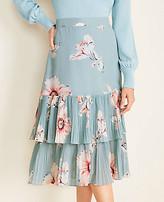 Ann Taylor Petite Floral Pleated Hem Skirt