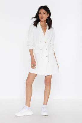 Nasty Gal Womens Suits You Double Breasted Blazer Dress - White - L