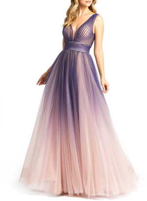 Mac Duggal Plunging V-Neck Ombre Tulle Ball Gown