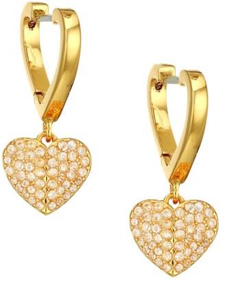 Kate Spade Heart 12K Yellow Goldplated & Cubic Zirconia Huggie Hoop Earrings