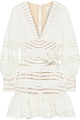 Zimmermann Corsage Linear Ruffled Floral-print Linen Mini Dress