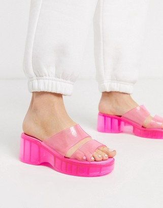 ASOS DESIGN Favourite chunky double strap 90s jelly sandals in pink