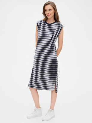 Gap Striped Short Sleeve Midi T-Shirt Dress