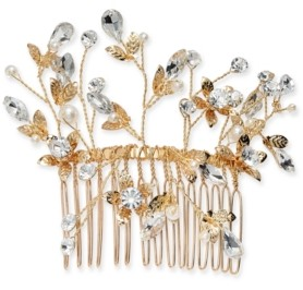 INC International Concepts Inc Gold-Tone Crystal & Pearl Flower Wire Hair Comb, Created for Macy's