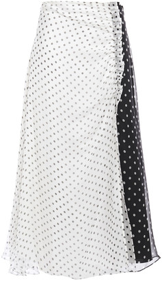 House of Holland Pleated Polka-dot Silk-chiffon Midi Skirt