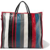 Balenciaga Bazar Xl Striped Textured-leather Tote - Gray
