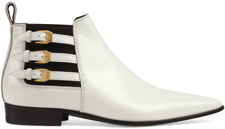 Gucci Leather Ankle Boots in Great White & Black | FWRD