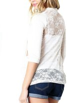Zenana All Lace Back Three-Quarter-Length Sleeve Open Front Cardigan W/ Pockets