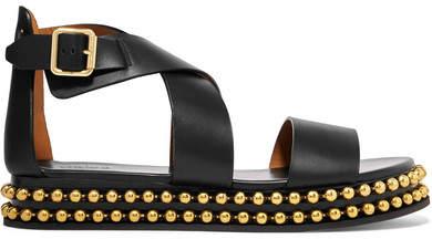 Chloé Sawyer Studded Leather Platform Sandals - Black