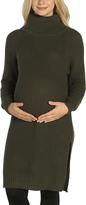 Khaki Side-Sit Ribbed Maternity Tunic