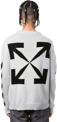 Off-White Diagonal Stripes Cotton Knit Sweater