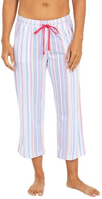 Karen Neuburger Sunday In Sorrento Capris Pants (Cornflower Blue Picnic Stripe) Women's Pajama