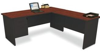Red Barrel Studioâ® Crivello Reversible L-Shape Executive Desk with Hutch Red Barrel StudioA Color (Top/Frame): Black/Mahogany